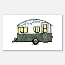 Vintage Camper Trailer with flags Decal