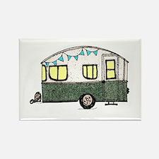 Vintage Camper Trailer with flags Rectangle Magnet
