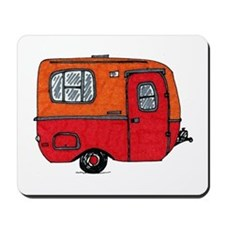Cute orange boler camper Mousepad