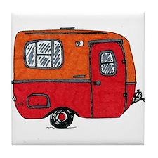 Cute orange boler camper Tile Coaster