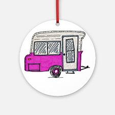 pinky vintage camper trailer Ornament (Round)
