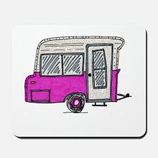 pinky vintage camper trailer Mousepad