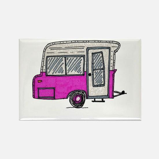 pinky vintage camper trailer Rectangle Magnet