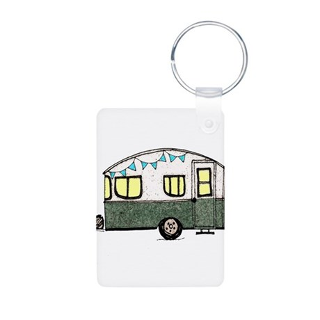 Vintage Camper Trailer with flags Aluminum Photo K