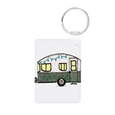 Vintage Camper Trailer with flags Keychains