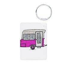pinky vintage camper trailer Keychains