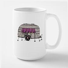 Vintage Airstream Camper Trailer Art Large Mug