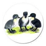 Blue Swedish Ducklings Round Car Magnet