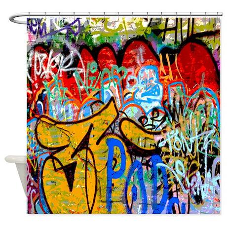 Unique Colorful Shower Curtain Graffiti Urban Art On Inspiration Decorating