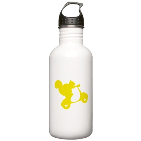Yellow Squirrel on Scooter Stainless Water Bottle