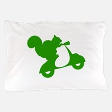 Green Squirrel on Scooter Pillow Case