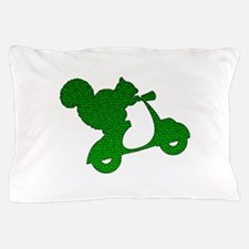 Green Squirrel on Scooter Mosaic Pillow Case