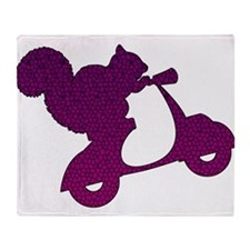 Purple Squirrel on Scooter Mosaic Throw Blanket