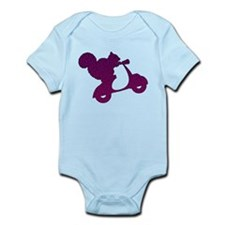 Purple Squirrel on Scooter Mosaic Infant Bodysuit