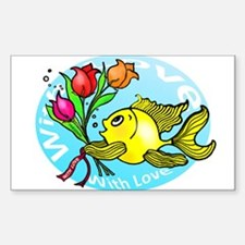 Love Sparky Flowers Fish - cute funny Decal