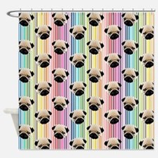 Pugs on Rainbow Stripes