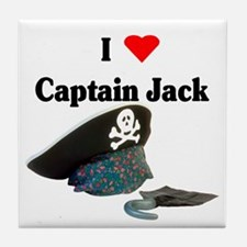 I Heart Captain Jack Tile Coaster