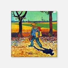 "Van Gogh Painter On The Road Square Sticker 3"" x 3"