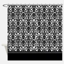 Black And White Damask Shower Curtain black baroque shower curtains | black baroque fabric shower