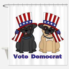 Vote Democrat Pug Shower Curtain