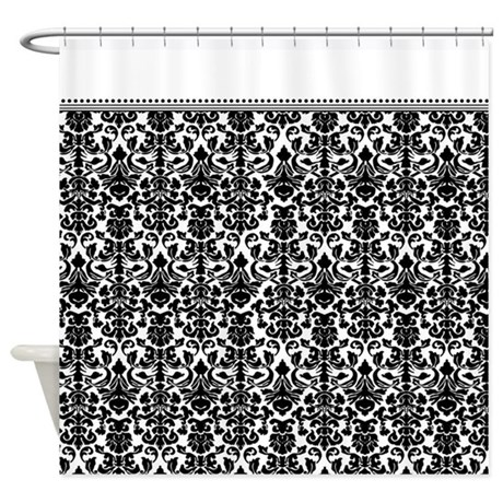 Wonderful Black And White Damask Shower Curtain For Decor