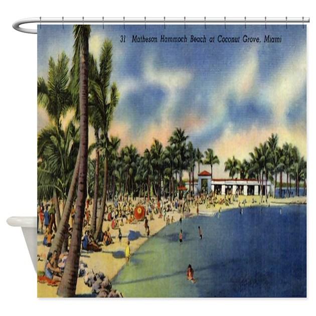 Vintage Florida Beach Postcard Shower Curtain By