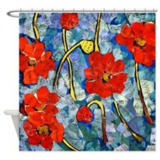 Poppy Hoppy Bathroom Shower Curtain