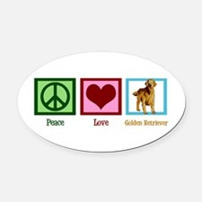 Cute Golden Retriever Oval Car Magnet