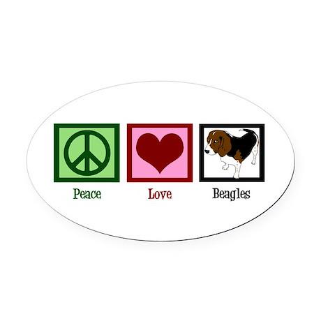 Peace Love Beagles Oval Car Magnet
