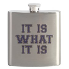 It Is What It Is Blue and Gold Flask