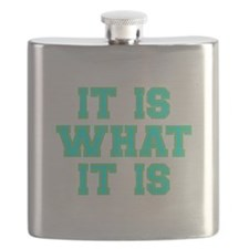 It Is What It Is Cyan and Gold Flask
