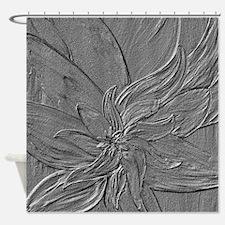 Dark Grey Floral Shower Curtain