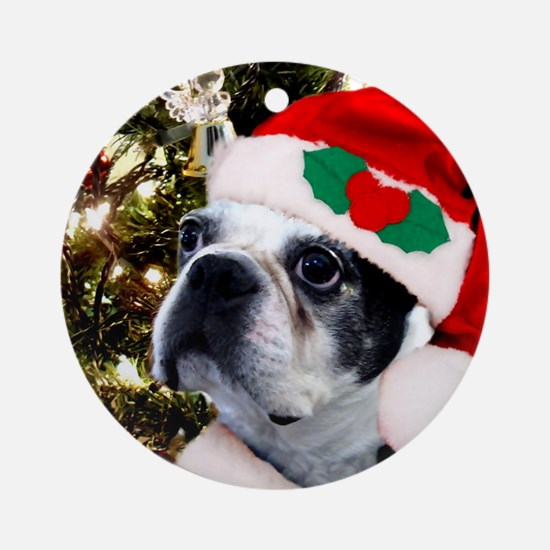 Christmas Boston Terrier Ornament (Round)