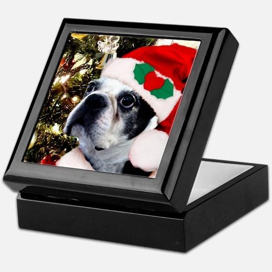 Christmas Boston Terrier Keepsake Box