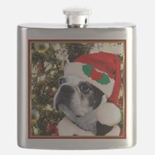 Christmas Boston Terrier Flask