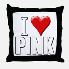 I Love (Heart) Pink Throw Pillow
