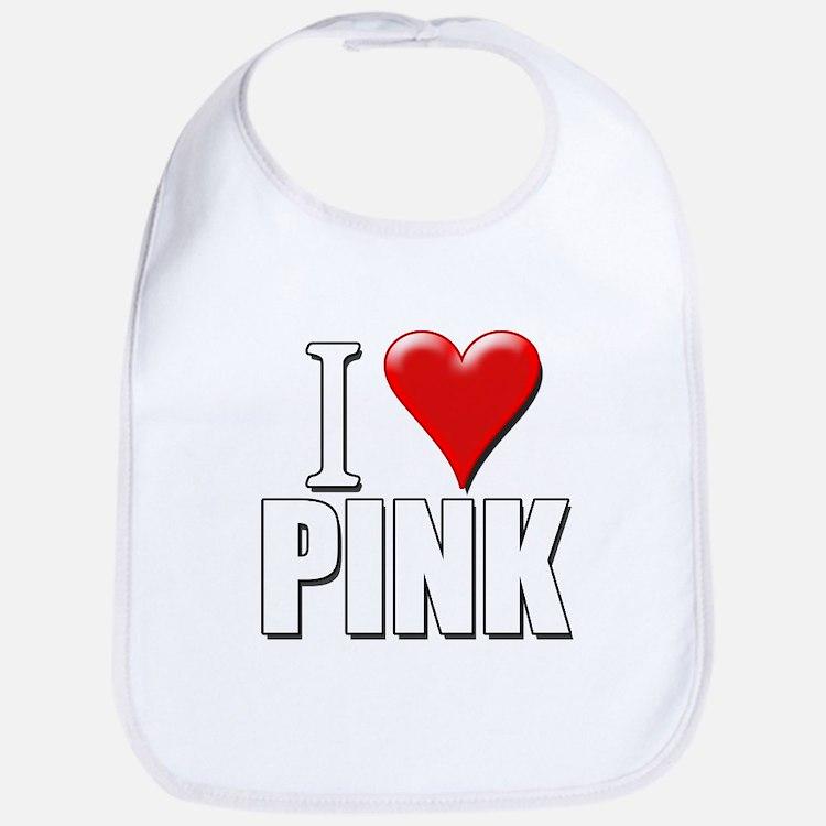 I Love (Heart) Pink Bib