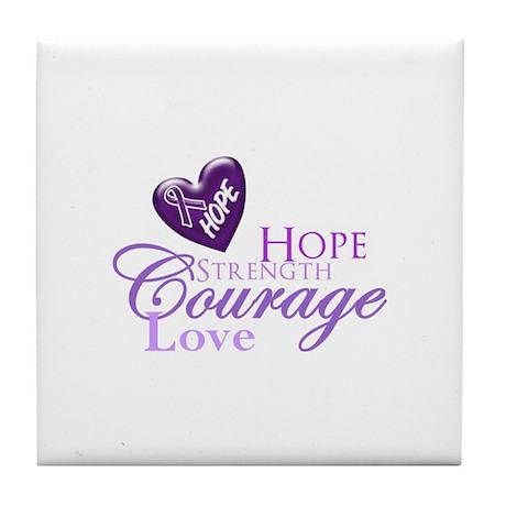 Hope Strength Love Tile Coaster