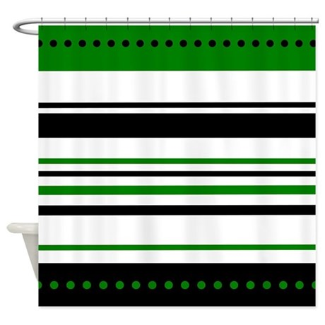 Green and Black Stripes Shower Curtain