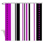 Purple and Black Vertical Stripes Shower Curtain