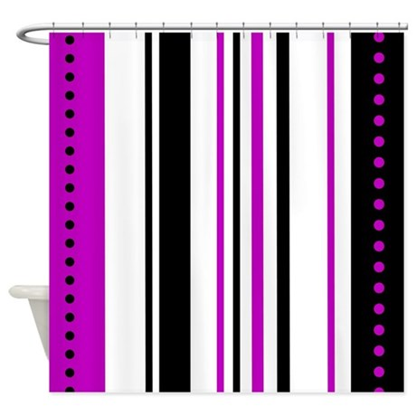 Purple And Black Vertical Stripes Shower Curtain By Stolenmomentsph