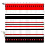 Black and Red Stripes Shower Curtain