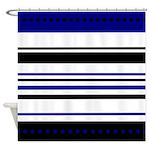 Blue and Black Horizontal Stripes Shower Curtain