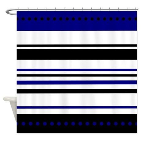 Blue And Black Horizontal Stripes Shower Curtain By Stolenmomentsph