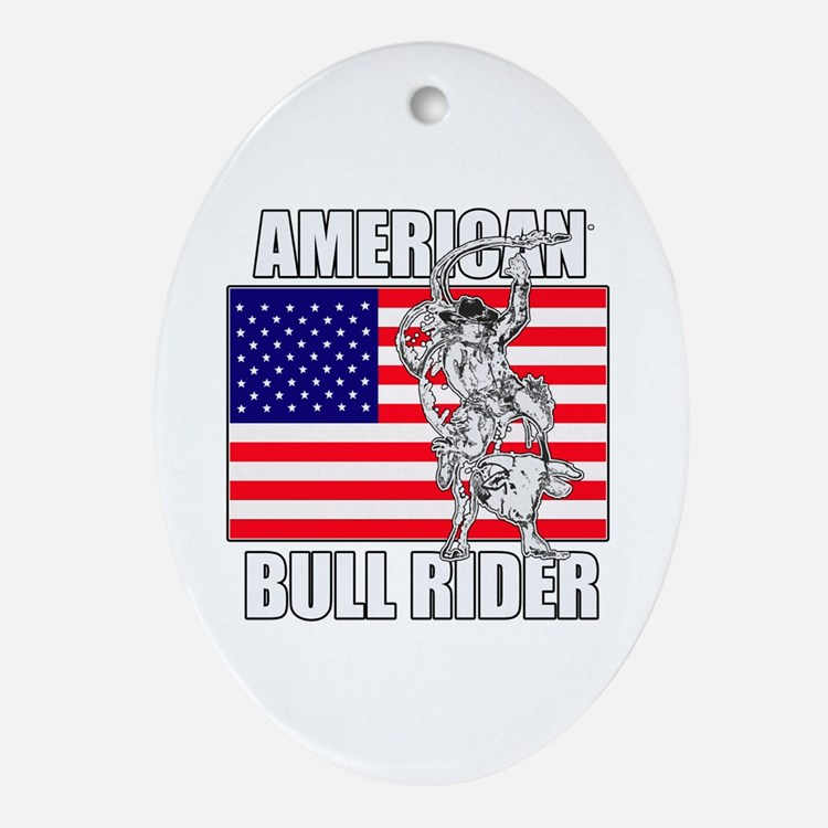 American Bull Rider Ornament (Oval)