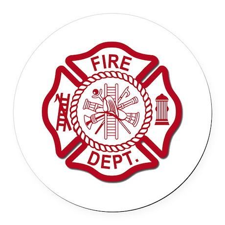 Fire Dept Round Car Magnet