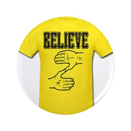 "Zoltan Believe Tee Shirt Gold 3.5"" Button"