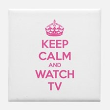Keep calm and watch tv Tile Coaster