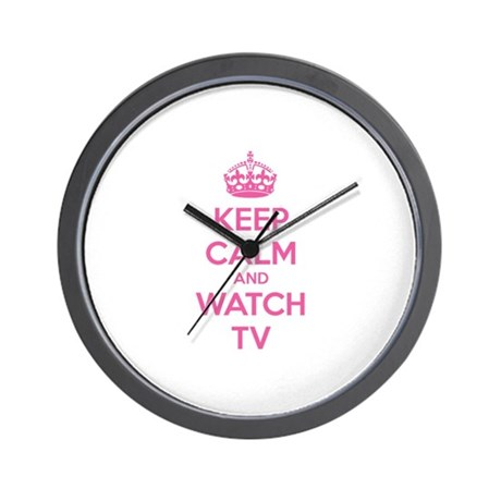 Keep calm and watch tv Wall Clock by Designalicious