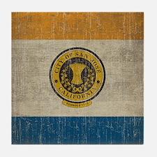 Vintage San Jose Flag Tile Coaster